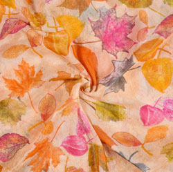Peach Orange Leaf Organza Digital Silk Fabric-22174