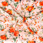 Peach Orange and Brown Flower Crepe Silk Fabric-18208