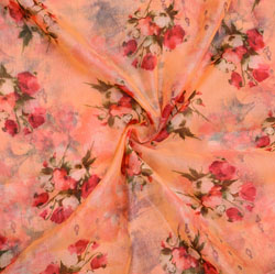Peach PInk and White Floral Organza Silk Fabric-22332
