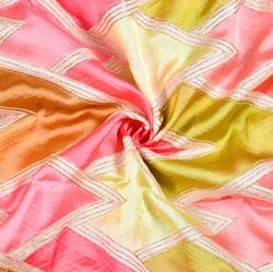 Peach Pink DIgital Georgette Fabric-19350