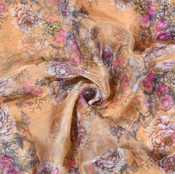 Peach Pink Floral Organza Digital Silk Fabric-22182