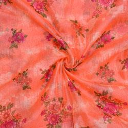 Peach Pink Floral Organza Silk Fabric-22334
