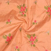 Peach Pink and Golden Jalbari Embroidery Silk Fabric-61016