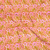 Peach Pink and Green Block Print Cotton Fabric-14585