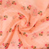 Peach Pink and Green Floral Embroidery Organza Silk Fabric-51691