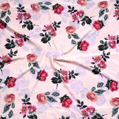 Peach Pink and Green Flower Crepe Silk Fabric-18245