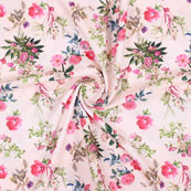 Peach Pink and Green Flower Crepe Silk Fabric-18252