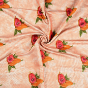 Peach-Pink and Green Jam Cotton Silk Fabric-75061