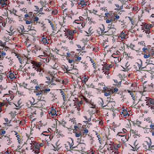 Peach Red Flower Crepe Silk Fabric-18239