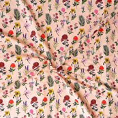Peach Red and Black Flower Crepe Silk Fabric-18234