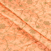 Peach Silk Fabric With Golden Flower Embroidery-60594