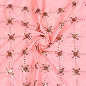Peach Silver Sequin Chinnon Embroidery Fabric-29276