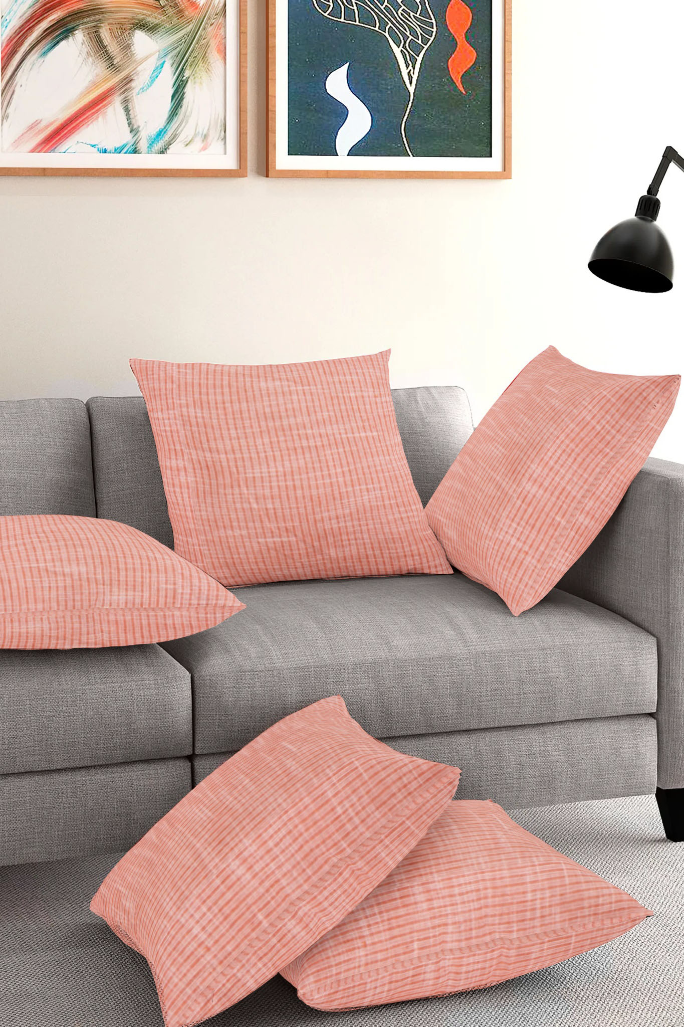 Set of 5-Peach White Cotton Cushion Cover-35375-16x16 Inches