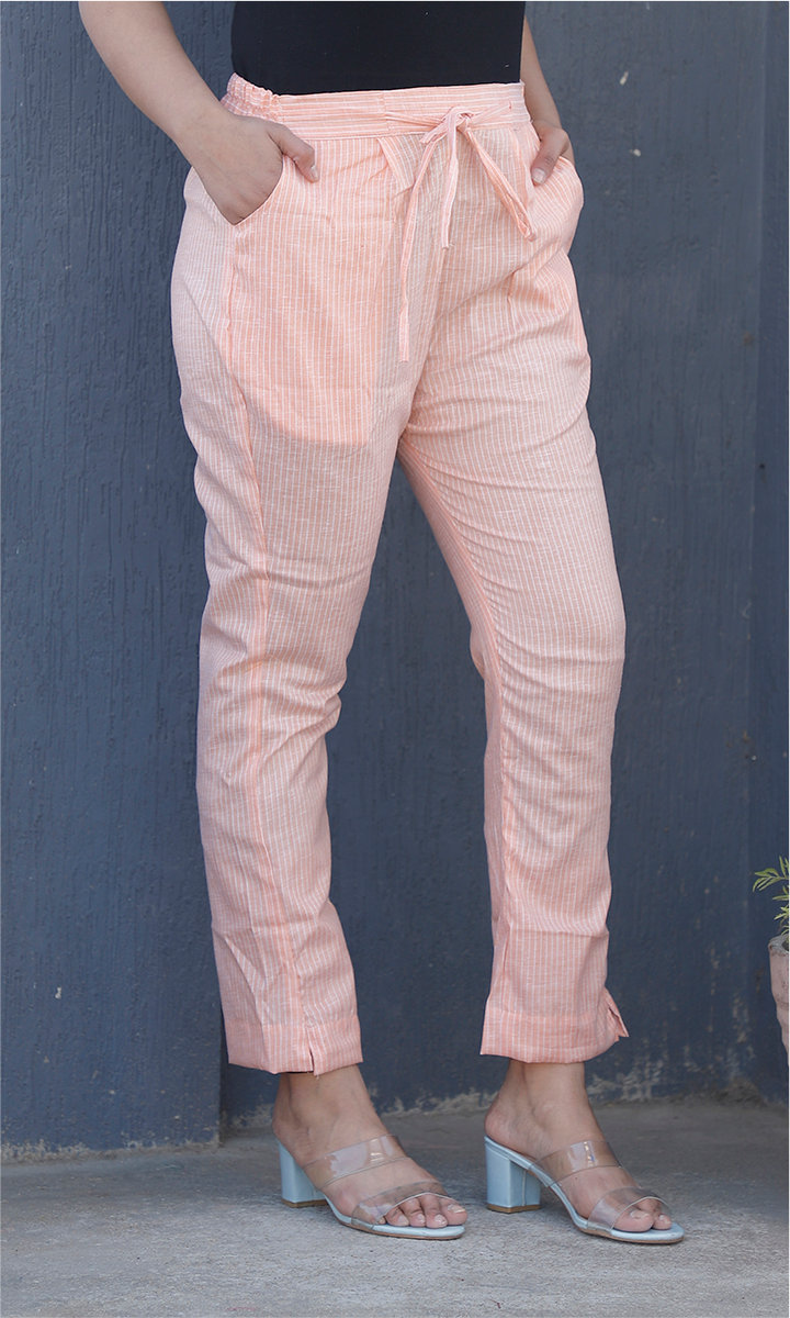Peach White Cotton Stripe Ankle Women Pant-34469