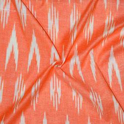 Peach White Ikat Cotton Fabric-11157