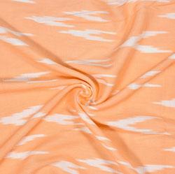 Peach White Ikat Rayon Fabric-16241