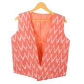 Peach White Sleeveless Ikat Cotton koti jacket-12299