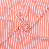 Peach White Striped Handloom Khadi Cotton Fabric-40749