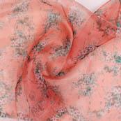 Peach White and Green Digital Organza Silk Fabric-51726