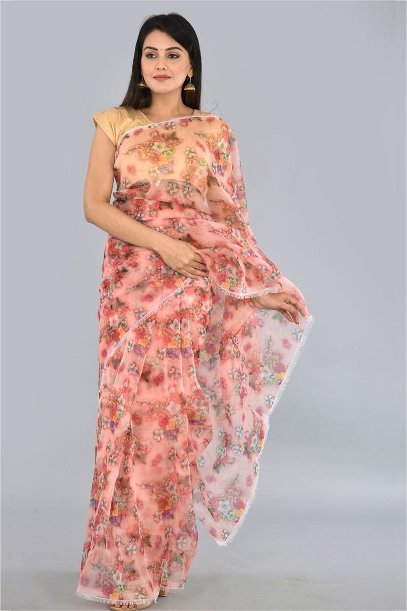 Peach White and Yellow Organza Digital Printed Saree-36189