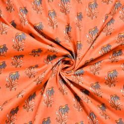 Peach Whtte Floral Block Print Cotton Fabric-28554