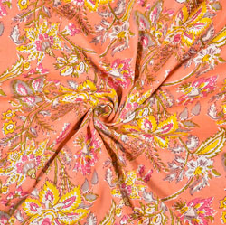 Peach Yellow Floral Block Print Cotton Fabric-28465