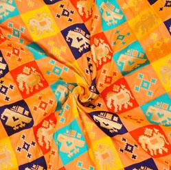 Peach Yellow and Golden Sparrow Banarasi Silk Fabric-12593