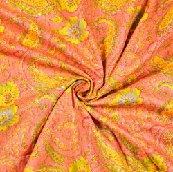 Peach Yellow and Green Floral Block Print Cotton Fabric-28482