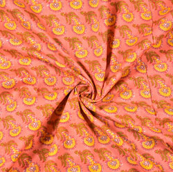 Peach Yellow and Green Floral Block Print Cotton Fabric-28485
