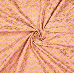 Peach Yellow zigzag Print Cotton Fabric-28590