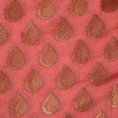 Peach and Golden Floral Pattern Chanderi Indian Fabric-4385