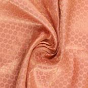 Peach and Golden Flower Brocade Silk Fabric-8912