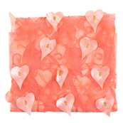 Peach and Golden Leaf Net Embroidery Fabric-60878