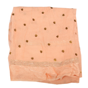 Peach Golden Polka Embroidery Chiffon Georgette Fabric-60381