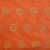 Peach and Golden flower shape brocade silk fabric-5054