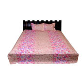 Peach and Pink Floral Printed Cotton Double Bed Sheet-0G18
