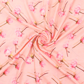 Peach and Pink Flower Silk Crepe Fabric-18144