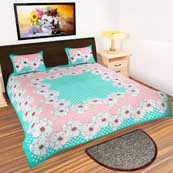 Peach and Sky Blue dotted design printed Bedsheet with 2 Pillow Covers