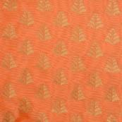 Peach and golden flower brocade silk fabric-5051