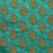 Pine Green and Golden Flower Brocade Silk Fabric-1053