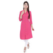 Pink 3/4 Sleeve Solid Cotton Kurti-3017