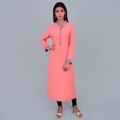 Pink And Gray Rayon Kurti With Pocket Style-22015