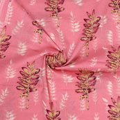 Pink Beige Block Print Cotton Fabric-14814