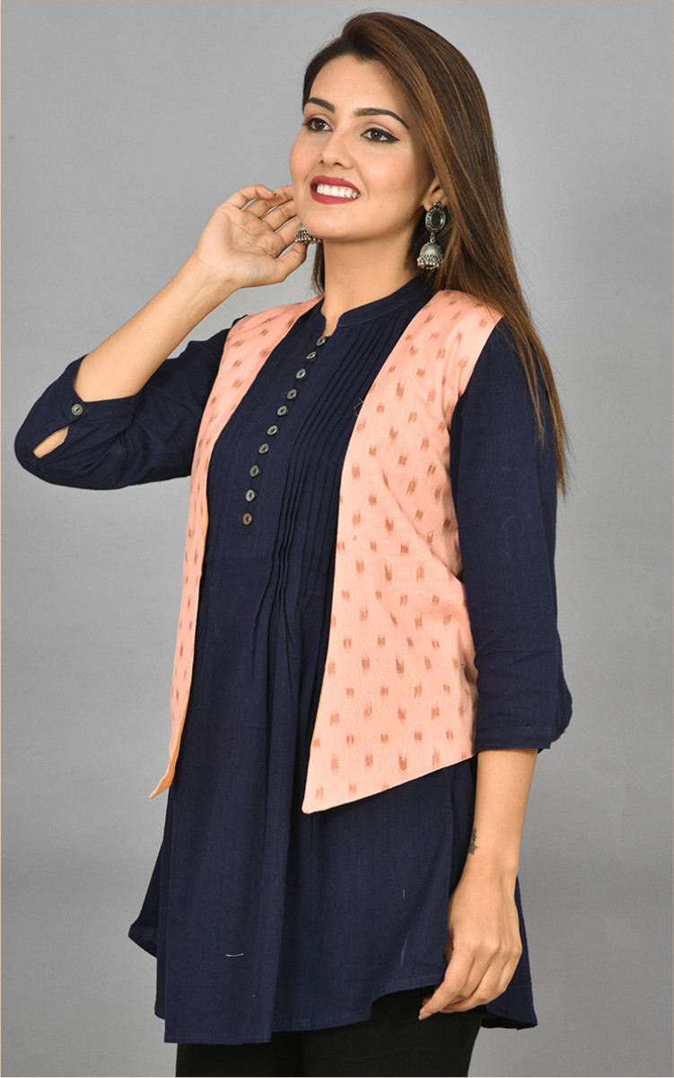 Pink Beige Ikat Cotton Koti Jacket-36291