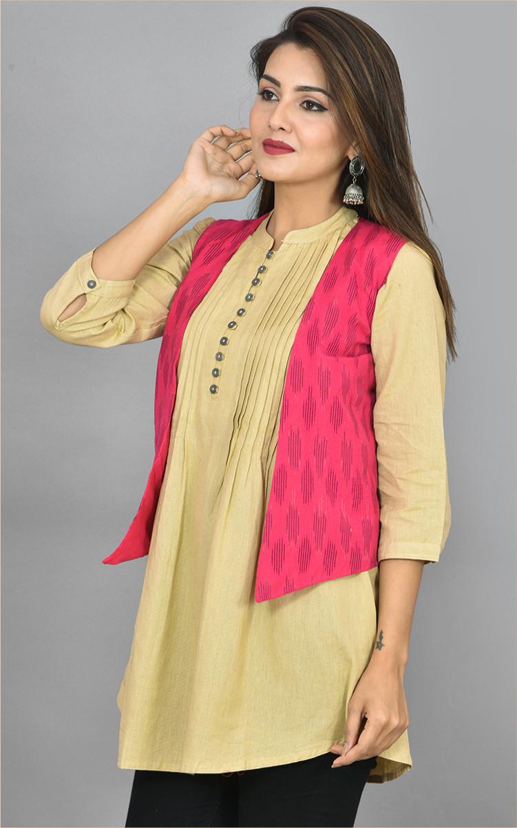 Pink Black Ikat Cotton Koti Jacket-36274