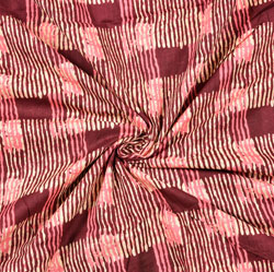 Pink Black Stripe Block Print Cotton Fabric-28438