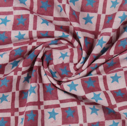 Pink Blue Block Print Cotton Fabric-16199