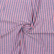 Pink Blue Striped Handloom Khadi Cotton Fabric-40773