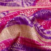 Pink-Blue and Beige Flower Pattern Kota Doria Fabric-6042