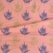 Pink Blue and Brown Kantha tree Print Cotton Fabric-15131